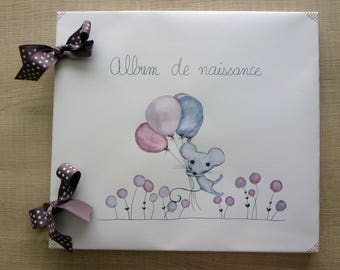 Baby album mouse gray purple pink
