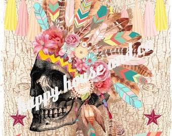 """digital image to make yourself transfers or scrapbooking paper, """"skull feathers Indian 2"""""""