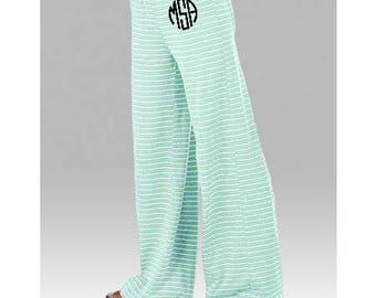 Monogrammed Women's Stripe Lounge Pants