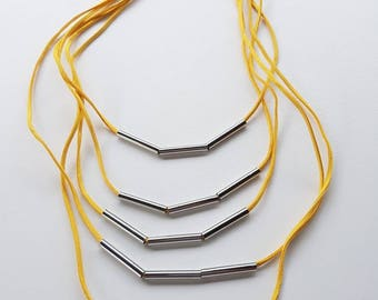 Yellow Faux Leather Necklace With Tube Beads