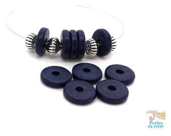 Navy Blue: 10 beads matte ceramic rondelles, 2.5x12mm, Greece (pc178)