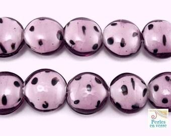 """5 large beads, glass purple """"Dalmatian"""" 9x20mm (pv264)"""