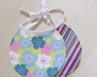 Set of two bibs-assorted floral and stripes