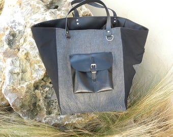 grey and black fabric Tote with stars