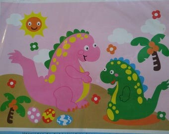 Tile stickers complete kit foam dinosaurs on an island with a Palm tree pattern