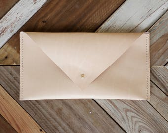 Raw Tan Leather Envelope Clutch