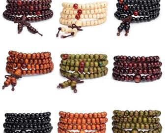 9 wooden Tibetan mala bracelets to customize