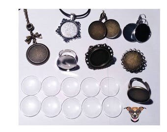 1 DIY kit to create 8 jewels with 20 mm cabochon
