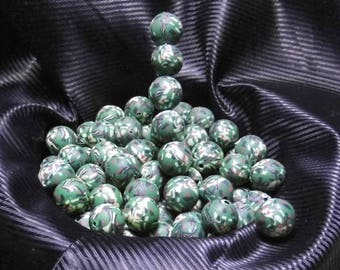 15 PEARLS 10MM FIMO POLYMER ROUND KHAKI MILITARY CAMOUFLAGE