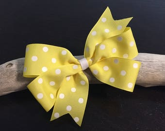 Large Yellow Girl's Hair Bow - Large Polka Dot Bow, Girls Bows, Summer Bow, Girls Bows, Uniform Bows, School Bows, Spring, Easter