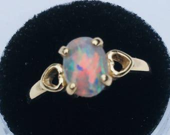 LIghtning Ridge opal set in 14kt gold