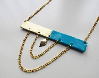 Rectangle turquoise and gold geometric necklace with polymer clay