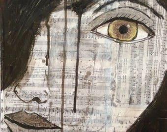 Contemporary art, Acrylic paint, sheet music music, Brigitte Sophie, original piece