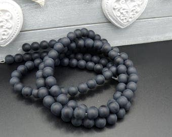 10 round 6 mm black agate beads