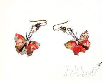 Red Butterfly Origami earrings