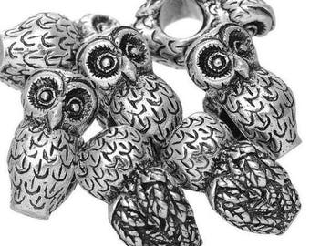 European beads with large holes, antique silver metal owls.