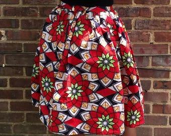 African Print Pleated Midi Skirt