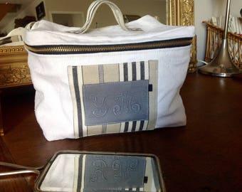 Old linen and Monogram YM vanity bag