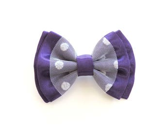 brooch purple satin bow and white tulle with polka dots
