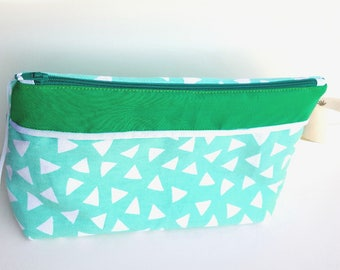 Toilet bag waterproof versatile mint cotton zip closure.