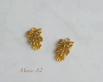 2 OWL charms - gold plated 20 mm X 10 mm