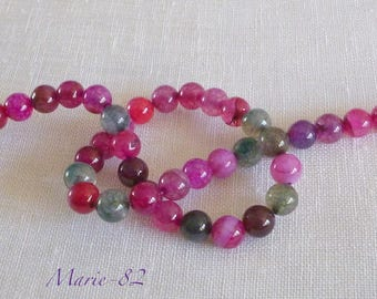 20 beads Agate 8 mm - color Tourmaline