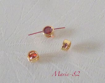 Pearl cubic zirconia red - gold plated - 3 holes