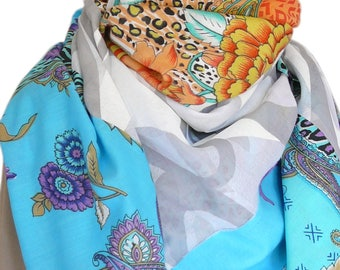 Large scarf/shawl/wrap square patchwork oversized cotton voile