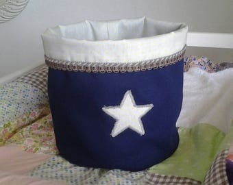 Basket/bin storage for nursery child/baby boy Navy Blue and gray and yellow star