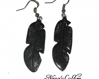 Earrings feather, black polymer clay,