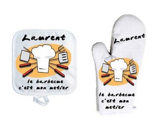 Oven glove with personalized Potholder, name choice, Barbecue