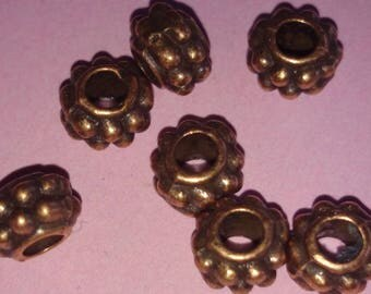 Antiqued gold tone set of 10 washers beads