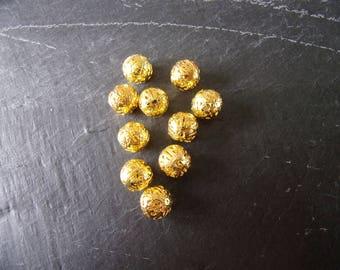 Lot 10 pearls Golden filigree 12 mm