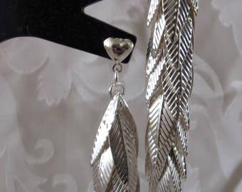 9cm silver leaf earrings