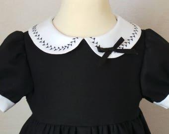 dress 12 months in Navy Blue Cotton satin
