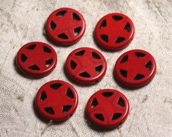 10pc - synthetic Turquoise beads Circle Star 20mm red 4558550011688