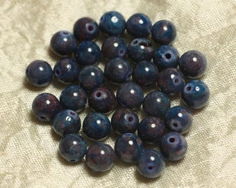 Jade blue and Plum - Stone beads - 10pc balls 8mm 4558550019301