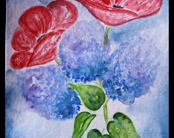 Original illustration painted with watercolors on ARCHES 300 g/m²coquelicot & Lavender