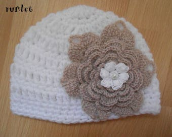 white crochet bonnet for baby