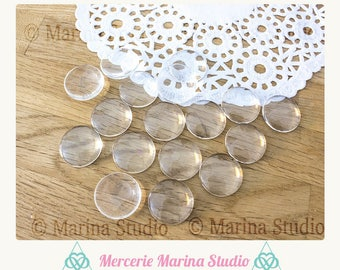 10 cabochons round 20mm glass MS14354