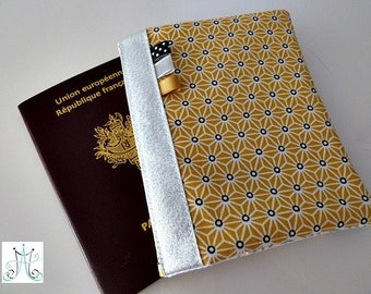Passport yellow, silver Asanoha pattern