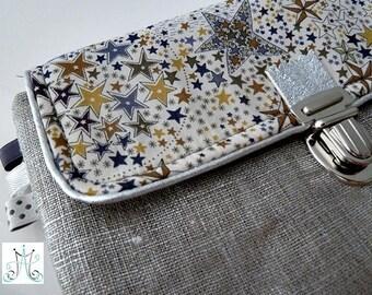 Silver clip Binder - Liberty Adeladja beige linen pouch