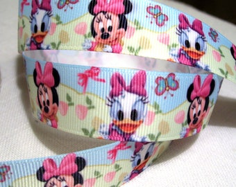 Printed grosgrain Ribbon * 22 mm * Daisy Beach Cartoon - the meter bow Minnie mouse