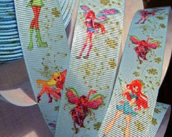 Printed grosgrain Ribbon * 25 mm * fairy girl winx blue background - sold by the yard