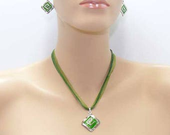 Hammered silver and green enamel set