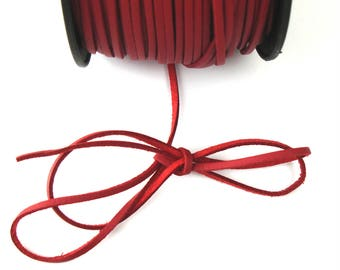 Red 3 mm leather cord / 1.5 mm X 1 meter
