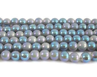 20 8 mm purple glass pearls