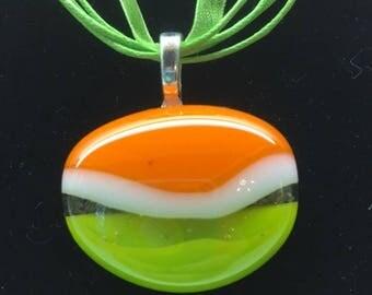 Fused Puddle Pendant, Orange and Green