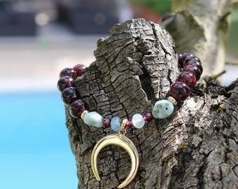 "Women bracelet ""Mamounia"" Garnet beads, larimar and ""Crescent Moon"" pendant plated gold - natural gemstone - boho chic - 237."
