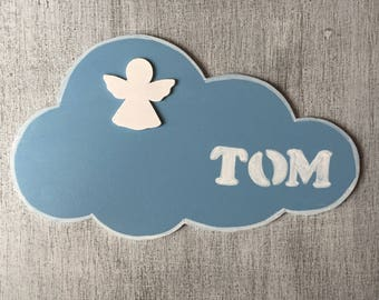 """Door sign customizable """"the Angel and cloud"""" child/baby blue and white"""